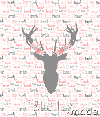 Typographic Panel - Stag Head Floral