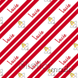 ShelleyMade Personalised Name Design Fabric Christmas Stripe - Angel Girl