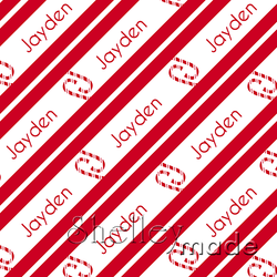 ShelleyMade Personalised Name Design Fabric Christmas Stripe - Candy Cane