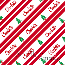 ShelleyMade Personalised Name Design Fabric Christmas Stripe - Christmas Tree