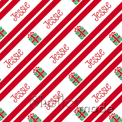 ShelleyMade Personalised Name Design Fabric Christmas Stripe - Gift