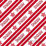 ShelleyMade Personalised Name Design Fabric Christmas Stripe - Star Swirl