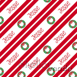 Christmas Stripe - Christmas Wreath