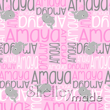 ShelleyMade Personalised Name Design Fabric Nested Image - Whale