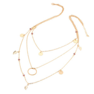 17KM Gold Color Star Moon Necklace for Women Multi Layer Leaf Steampunk Chokers Bohemian Body Blue Stone Colar Feminino