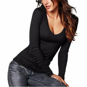 New Fashion Blouse Women Shirt Casual Tops Sexy Deep V Neck Long Sleeve Solid 5 Colors Elegant Ladies Blouses#LSW