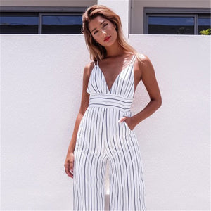2017 New Jumpsuit Women Striped Clubwear V-Neck Playsuit Sleeveless Jumper Bodycon Party Jumpsuit Female Summer Backless Romper