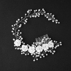 Girl Bridal Faux Pearl Flowers Wedding Tiara Floral Headdress Headband Hair Comb