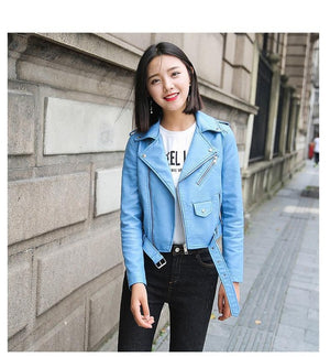 Ftlzz Pu Leather Jacket Women Fashion Bright Colors Black Motorcycle Coat Short Faux Leather Biker Jacket Soft Jacket Female