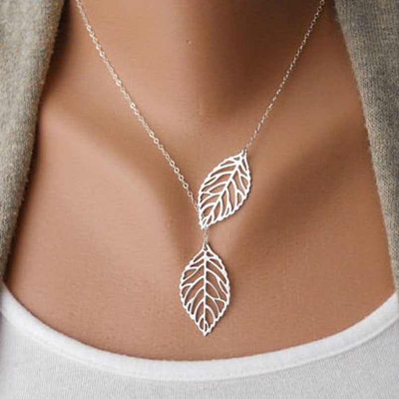 SUSENSTONE 1PC Womens Girls Simple Metal Double Leaf Pendant Alloy Choker Necklace