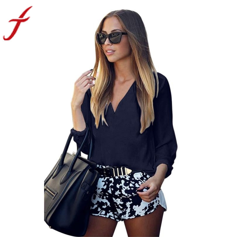 Womens Blouse 2017 Fashion New Lady Loose V Neck Shirt Long Sleeve Polyester Tops Office Wear Shirt blusas