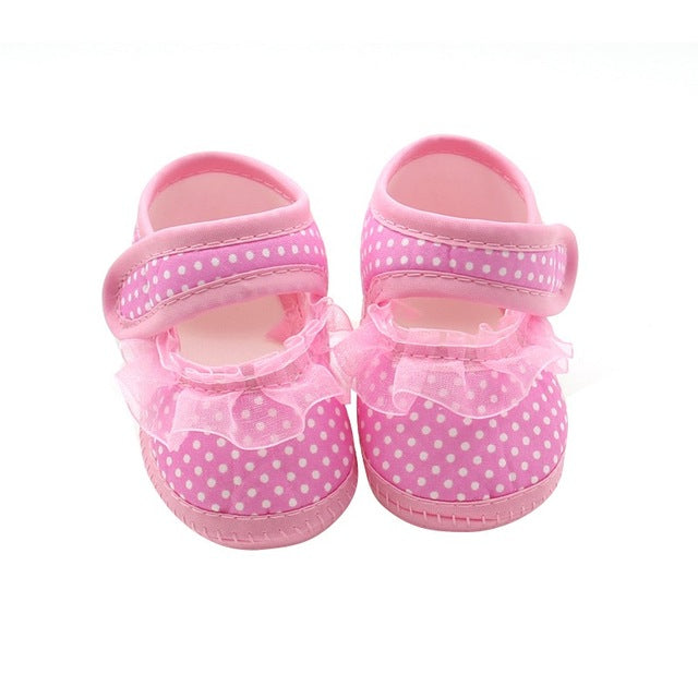 Newborn Baby Girls Booties Polka Dot Soft Sole Cotton First Walkers Moccasins Pink Red Purple