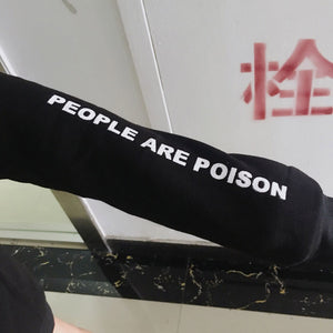 Women People Are Poison Sleeve Embroidery Rose Hoodie Sweatshirt Blouse Tops