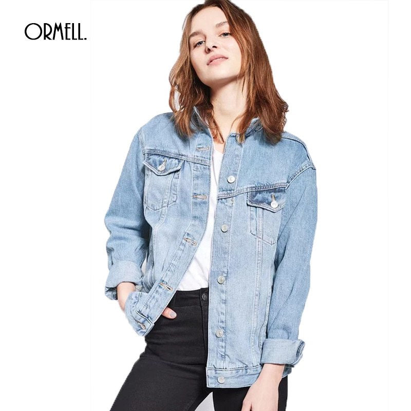 ORMELL Women Denim Jacket Loose Casual Female Autumn Outwear Turn Down Collar Blue Black Ladies Button Jeans Coat Long Sleeve