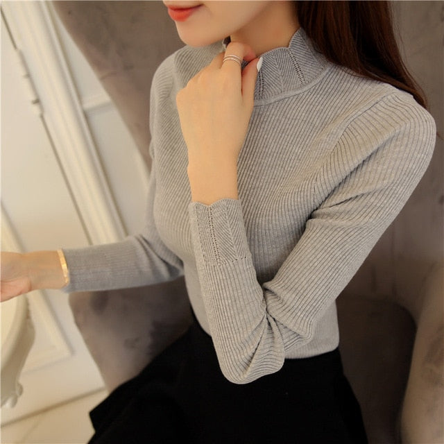 2018 Korean Fashion Women Sweaters and Pullovers Sueter Mujer Ruffled Sleeve Turtleneck Solid Slim Sexy Elastic Women Tops