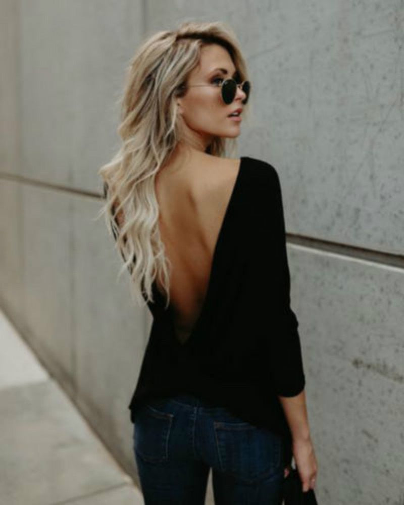 Fashion Women's Sexy V Open Back Backless Tops Long Sleeve Back Tied T-shirt Loose Casual Shirt New