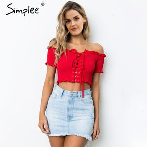 Simplee Off shoulder print sexy tank top Ruching ruffle  lace up tops tee women Short sleeve summer white camisole shirt