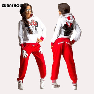 XUANSHOW Women Set Casual Sportswear Cute Ear Cartoon Mouse Printed With Hooded long-sleeved Suit Tenue Tracksuit  Femme