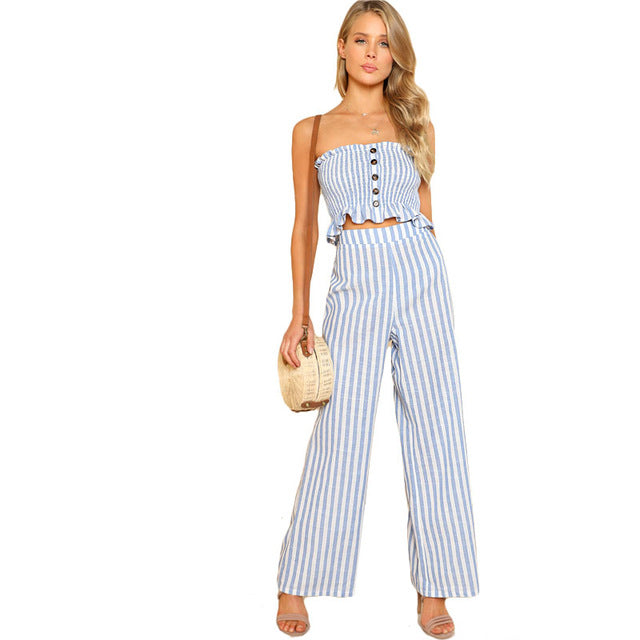 SHEIN Blue Ruffle Strapless Top & Pants Set Women Sleeveless Button Button Casual 2 Pieces Sets 2018 Beach Boho Twopieces