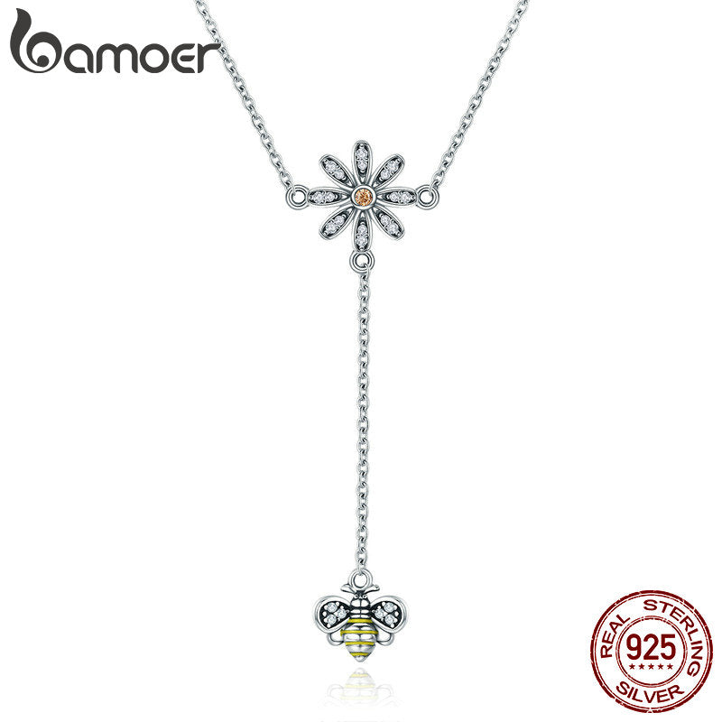 BAMOER Real 100% 925 Sterling Silver Pendant Daisy Flower with Cute Bee Long Chain Pendant Necklace Women Silver Jewelry SCN202
