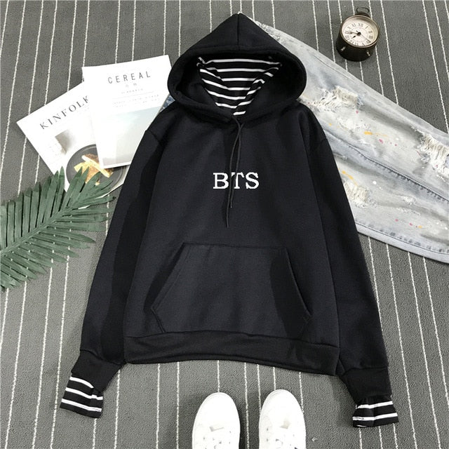 2018 New BTS Hoodie Bangtan Boys Hoodies Sweatshirt Tops Pullovers Kpop Fans Clothes Oversized Solid Cotton Harajuku Kawaii Tops