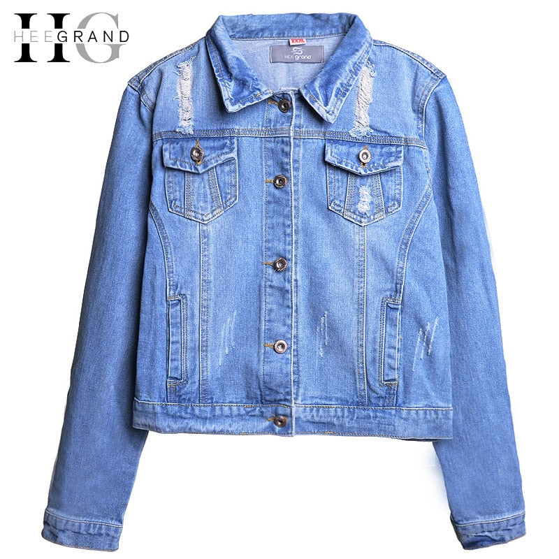 HEE GRAND Size S-5XL Denim Jacket Women 2018 Long Sleeve Hole Light Washed Short Jeans Jacket Frayed Fashion Girls Coats WWJ840
