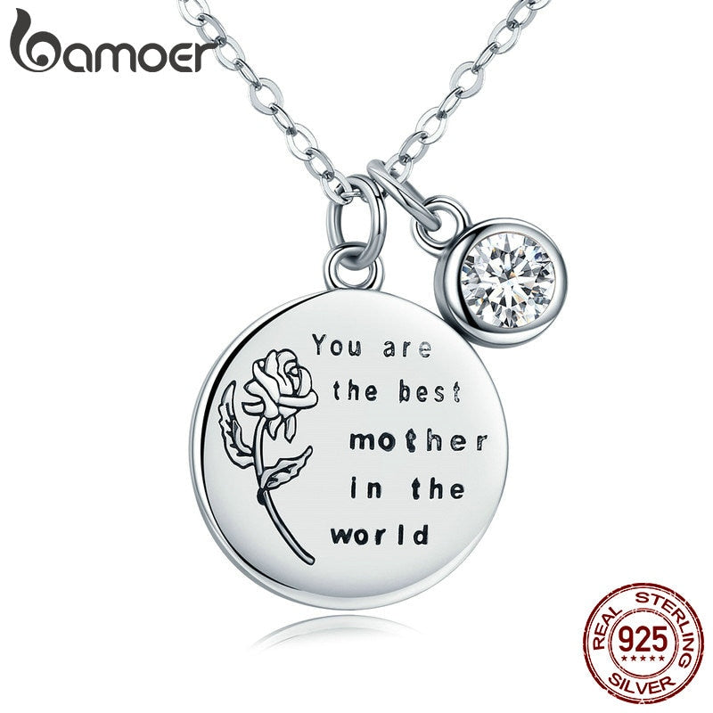BAMOER Genuine 925 Sterling Silver Best Mother Rose Flower Engrave Pendant Necklaces for Women Fine Jewelry Mom Gift SCN209