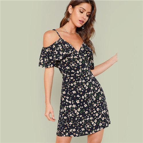 SHEIN Open Shoulder Wrap Neck Floral Dress 2018 Summer V Neck Sleeveless Cold Shoulder Vacation Dress Women Beach Cool Dress