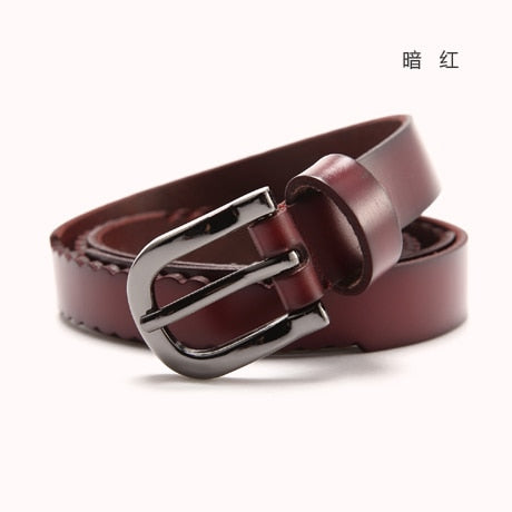 Toyouth Ladies Belt All-Match Vintage Leather Belt Casual Fashion Belts With Skirt Two layers of Cow-skin multi-function
