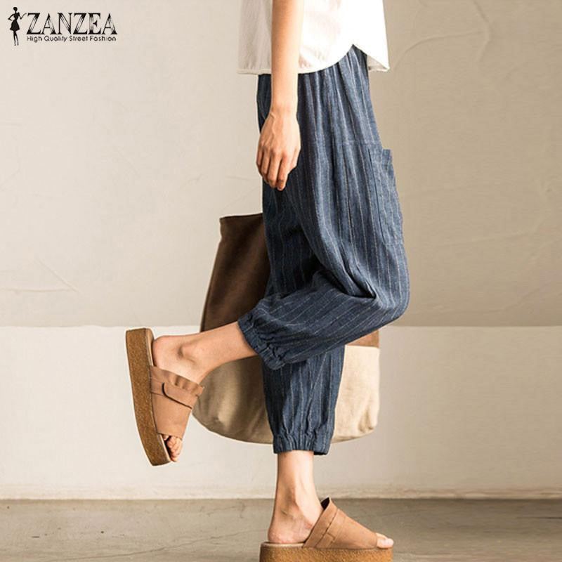 ZANZEA Fashion Women Long Pants 2018 Summer High Elastic Waist Pants Casual Harem Pants Long Pantalon Femme Trousers Plus Size