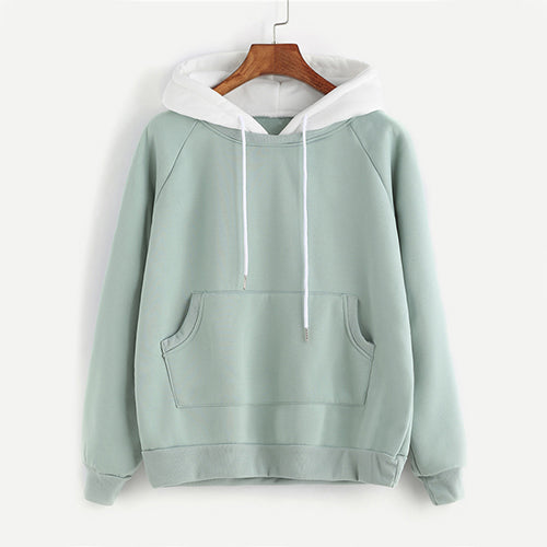 ROMWE Pale Green Patchwork Hoodie Women Raglan Long Sleeve Cute Contrast Hooded Sweatshirt 2018 Fall Pocket Drawstring Hoodies