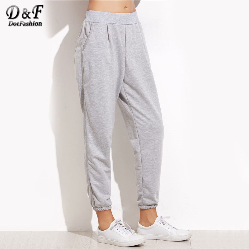 Dotfashion Grey Elastic Cuff Pocket Bottoms 2018 Ladies Autumn Mid Waist Solid Sweatpants Women Cropped Loose Pants