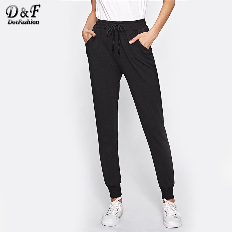 Dotfashion Drawstring Waist Fitness Sweatpants 2018 Autumn Black Mid Waist Solid Trousers Women Pocket Long Pants