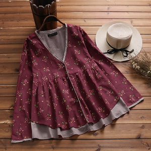 2018 Autumn ZANZEA Women V Neck Long Sleeve Buttons Down Lace Blouse Casual Floral Print Shirt Loose Ruffles Cotton Cardigan