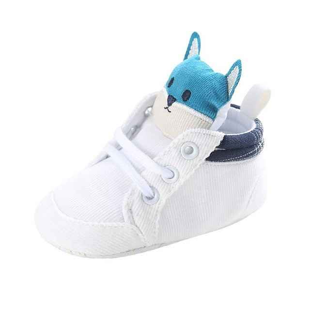 1 Pair Autumn Baby Shoes Kid Boy Girl Fox Head Lace Cotton Cloth First Walker Anti-slip Soft Sole Toddler Sneaker y13