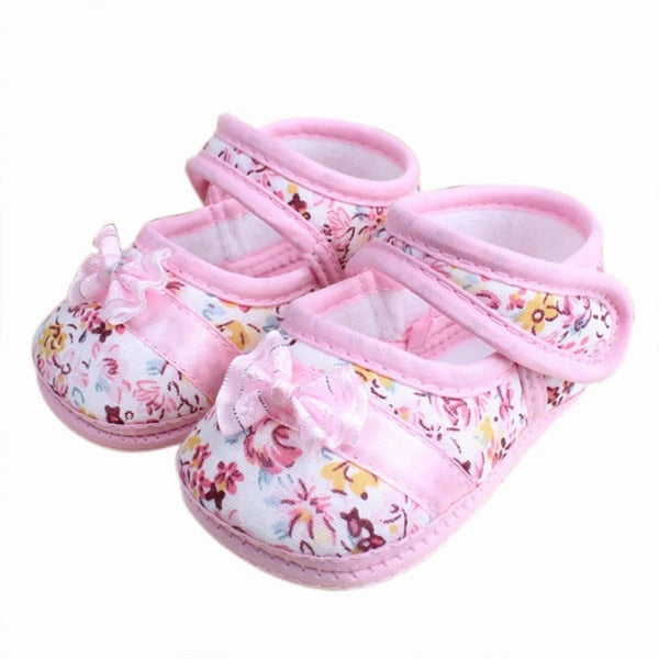 Infants Shies Baby Kids Bowknot Flower Printed Prewalker Cotton Fabric Shoes