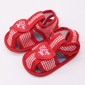Summer Cotton Baby Shoes Baby Girl Hollow Plaid Soft-Soled Princess crib shoes Star heart floral insert prewalkers