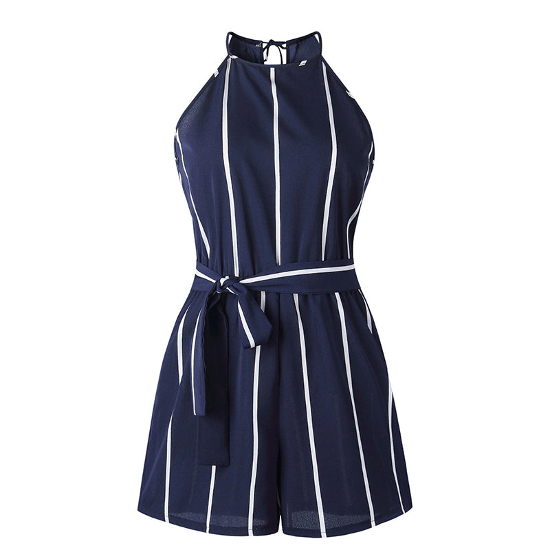 2018 Summer Fashion Women Beach Party Short Playsuit Casual Belt Loose Jumpsuit Shorts Sexy Halter Striped Club Mini Bodysuit