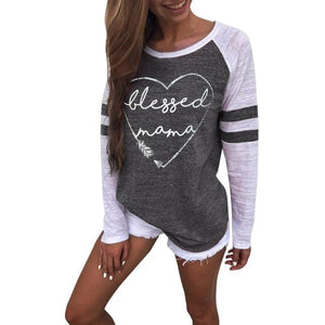 Vintage Patchwork Tops Women Spring Long Sleeve Letters Printed T-Shirt Autumn Ladies O-Neck Casual Loose Shirts Cropped #Zer