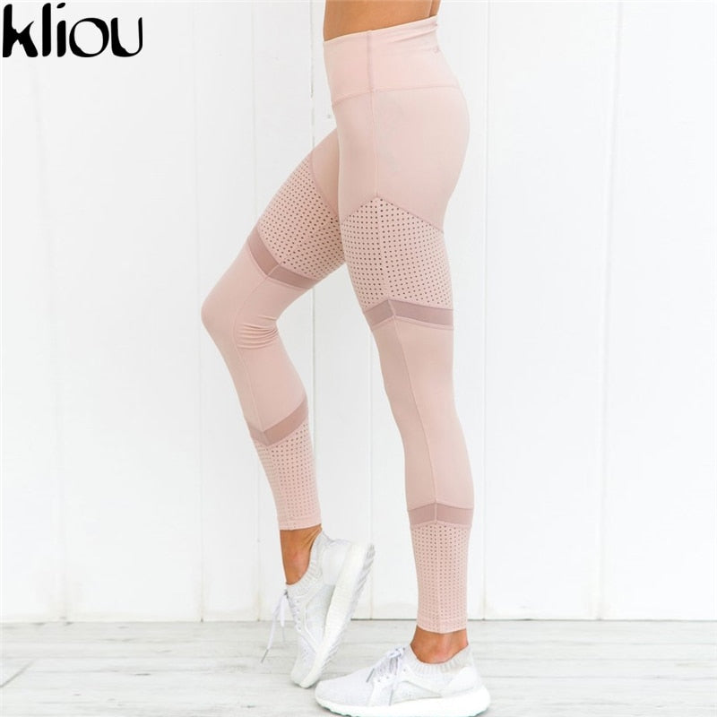 Kliou 2017 New Mesh Pattern Print Leggings fitness Leggings For Women Sporting Workout Leggins Elastic Trousers Slim PINK Pants
