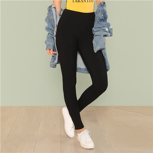 SHEIN Black Minimalist Casual Ribbed Knit Solid Skinny Long Leggings 2018 New Autumn Women Pants Trousers