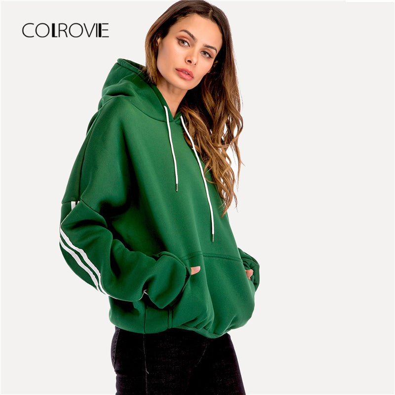COLROVIE Plus Size Green Casual Drop Shoulder Drawstring Pullover Hoodie Sweatshirt 2018 Autumn Women Streetwear Sweatshirts