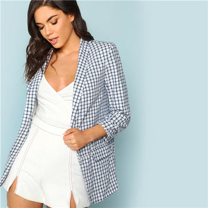 SHEIN Multicolor Elegant Office Lady Shawl Collar Plaid Longline Modern Lady Blazer 2018 Autumn Minimalist Women Coat Outerwear