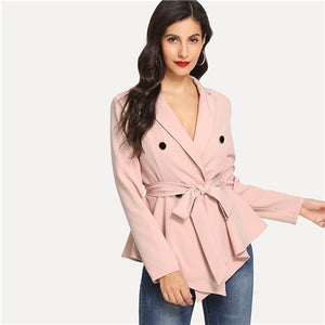 SHEIN Pink Office Lady Highstreet Asymmetric Peplum Double Button Belted Solid Blazer 2018 Autumn Elegant Women Coats Outerwear