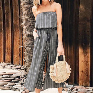 2018 Summer Off Shoulder Sexy Striped Jumpsuit ZANZEA Women Casual Elastic Waist Wide Leg Pants Playsuit Combinaison Long Mono
