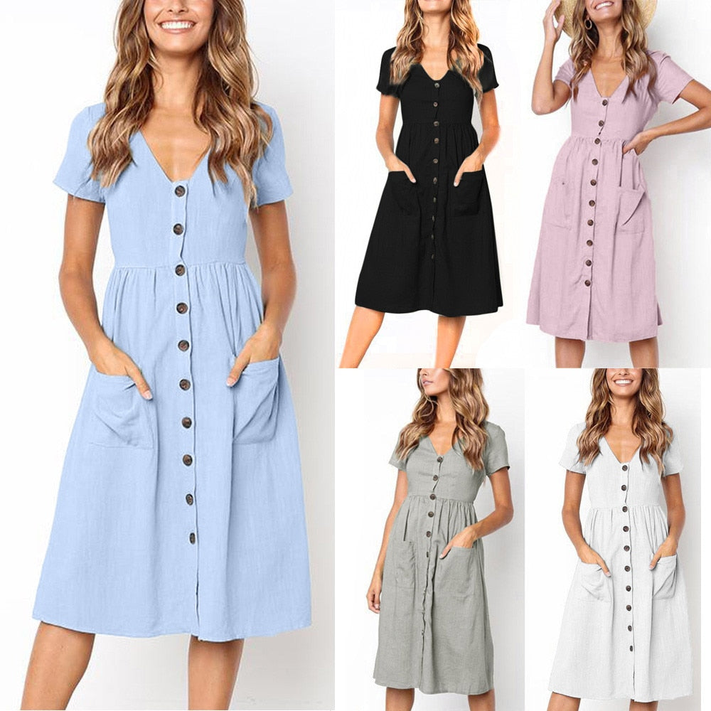 Womens Party Dress Holiday Summer Beach Solid short Sleeve Buttons Party Dress AU.15