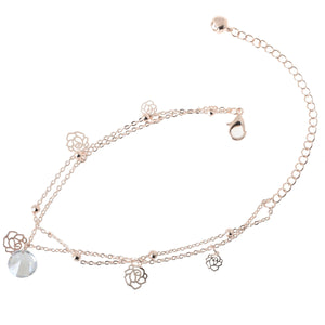 Bohemia Ankle Bracelet Hollow Rose Flower Rose Gold Chain Anklet Foot Chain Bracelets Foot Jewelry Barefoot Beach