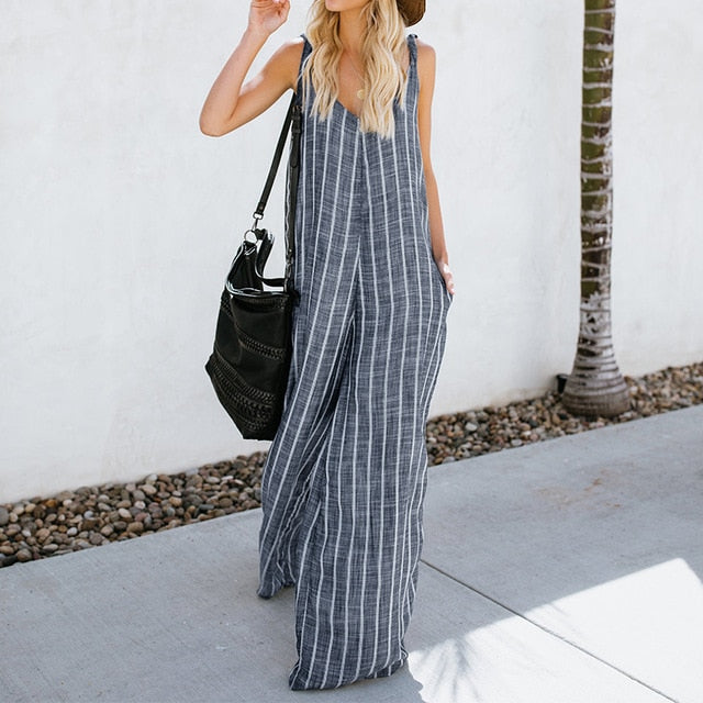 2018 ZANZEA Jumpsuits Women Wide Leg Pant Striped Casual Plus Size Overalls Sexy Deep V Neck Sleeveless Strappy Summer Trousers