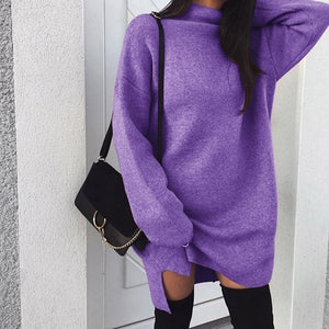 VIEUNSTA 2XL Autumn Winter Knitted Dress Women Turtleneck Long Sleeve Warm Sweater Dress Casual Solid Loose Mini Dresses Vestido