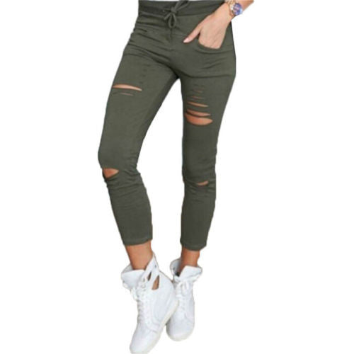Autumn Women's Denim Skinny Ripped Pants High Waist Stretch Jeans Slim Pencil Trousers